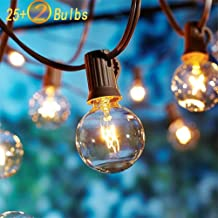 SkrLights 25Ft Outdoor String Lights with 27 Globe Clear G40 Bulbs,UL Listed Backyard Patio Hanging Indoor/Outdoor Lights for Bistro Tents Market Cafe Wedding Porch Letters Party Decor-Brown Wire