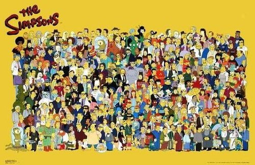 The Simpsons (Full Cast) TV Poster Print - 24x36 custom fit with RichAndFramous Black 36 inch Poster Hangers