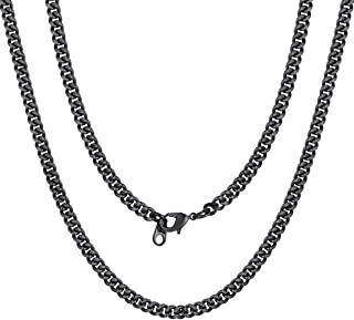 ChainsPro Unisex 7MM NK 1:1 Miami Cuban Link Chain,Engraved Available,18/22/26/28/30/32 inches,Black/18K Gold Plated/Rose ...
