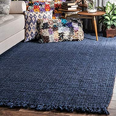 nuLOOM Jute Chunky Loop Area Rugs, 3' x 5', Navy Blue