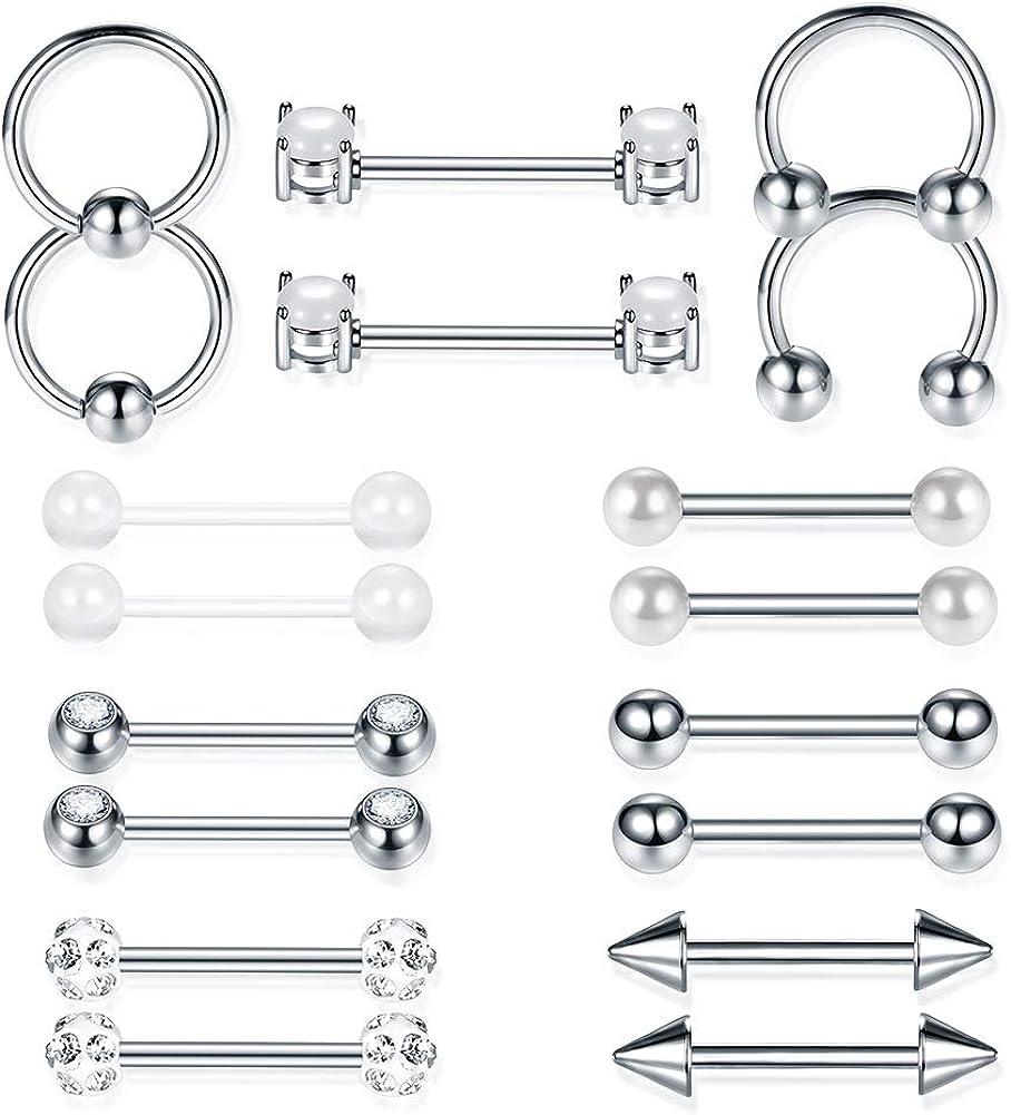 aumeo 18PCS Nipple Rings 14G Surgical Steel Tongue Nipplerings Straight Barbell Bar Hoop Rings Retainer Piercing Jewelry