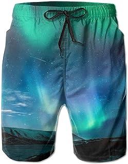 Quick Dry Men's Beach Shorts Iridescent Aurora Mesh Lining Surfing Swim Board Trunks with Pockets