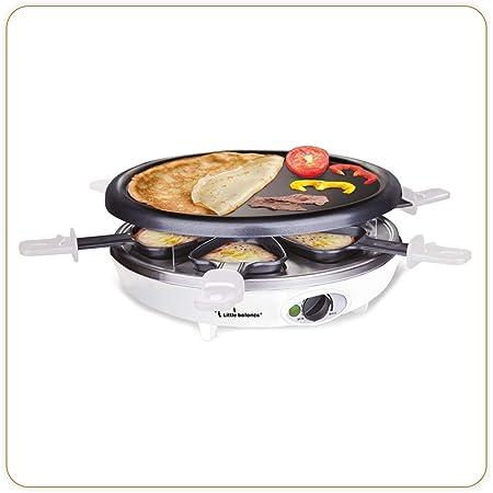LITTLE BALANCE 8389 Happy Cheese Trio 1200 - Raclette Grill Crêpière - 3 fonctions en 1 seul appareil - 6 personnes - Revêtement anti-adhésif - Accessoires fournis - Puissance 1200 W - Noir & Blanc