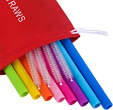 Mcool Silicone Straws 8Pcs Straight Smoothies straws for 30&20 oz Tumblers-Reusable Straws Extra Long for Yeti/Rtic/Ozark +4 Brushes+ 1 Red Storage Pouch