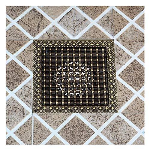DYR Bodenabläufe, 15 x 15 cm Duschboden aus antikem Messing, Badezimmer Quadratischer Bodenablauf Siebabdeckung Rostabfall, B.