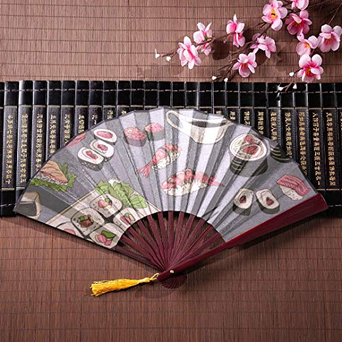 WYYWCY Abanico de Papel japonés Cocina Japonesa de mariscos con Sushi con Marco de bambú Borla Colgante y Bolsa de Tela Abanico Grande y Plegable Abanicos de Mano Abanico Plegable de bambú
