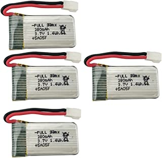 Fytoo 4PCS 3.7V 380mah Lithium Battery for EACHINE E016H E016F Hubsan X4 H107 H107C H107D H108 H107L V252 JXD385, Holy Stone F180C, UDI U816A, JJRC H6C RC Drone Parts Helicopter Lithium Battery