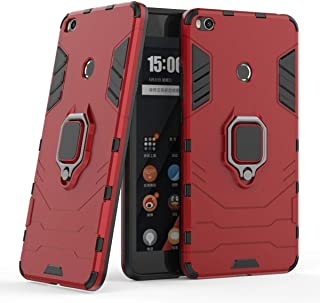 Compatible with Xiaomi Mi Max 2 Case, Metal Ring Grip Kickstand Shockproof Hard Bumper Shell (Works with Magnetic Car Mount) Dual Layer Rugged Cover for Xiaomi Mi Max2 (Red)