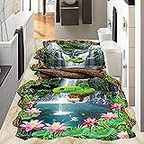 Piso de baño 3D papel tapiz personalizado para sala de estar pintura de loto papel adhesivo muebles azulejo 200x140cm
