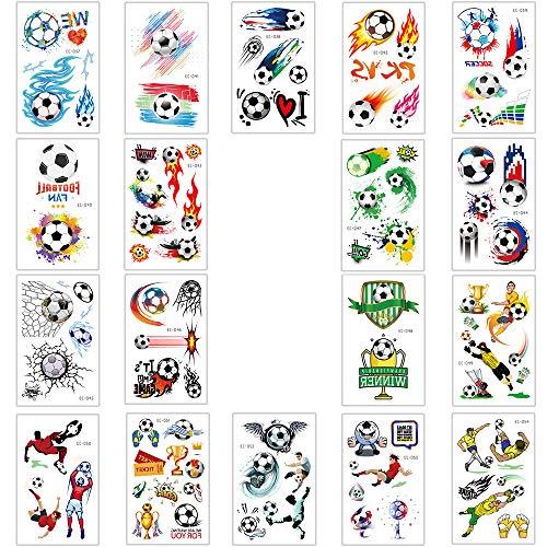 Integrity.1 Kinder Tattoo Aufkleber, 18 Stück Fußball Kinder Tattoos, Fußball Temporäre Tattoos für Jungen, wasserdichte Fußball Tattoo Aufkleber, Zubehör für Outdoor-Sport und Kinderparty