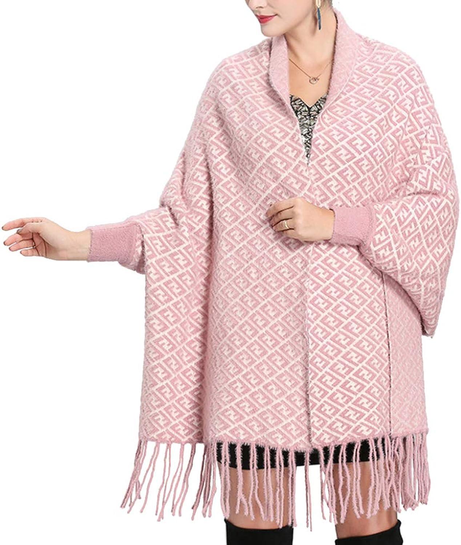 LIULIFE Women's Cape Poncho Autumn Winter Letter Jacquard Tassel Sleeve Long Shawl Scarf Dual Use Cardigan Cloak Coat