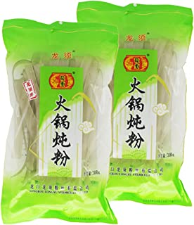 Chinese Extra Wide Glass Noodles 10.6oz(300g) Pack of 2 for Tteokbokki Malatang Shabu Hot Pot