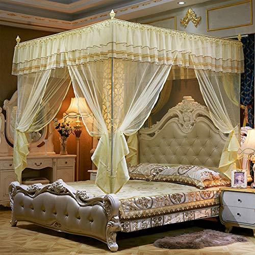 SETSCZY Mosquitera plegable para adultos, antimosquiteros, plegable, con marco de cama, carpa para cama, amarillo, 200 x 220 cm