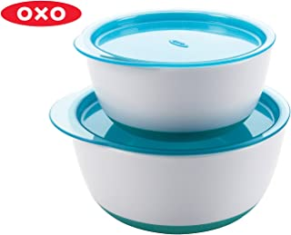 OXO TOT Small and Large Bowl Set with Snap on Lids, Aqua, Small, 2 count