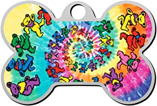 BSARRE Personalized Pet ID Tags for Dogs & Cats Tie Dye Spiral Bears Double Sided Bone Dog Tag