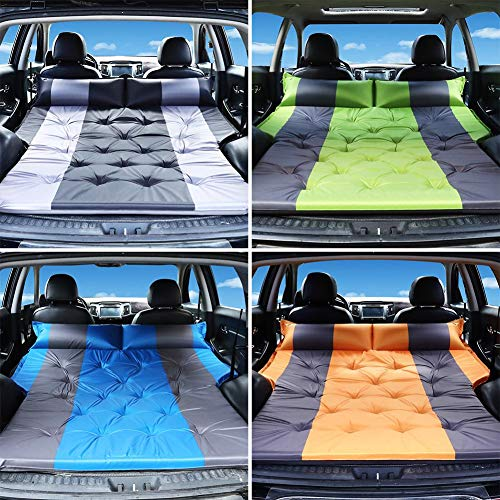 wangza Auto Luftmatratze Rücksitz Kofferraum Auto Matratze SUV Aufblasbare Campingmatte Bodenbett Tragbare Erhöhte Autofahrbett für 2-3 Personen