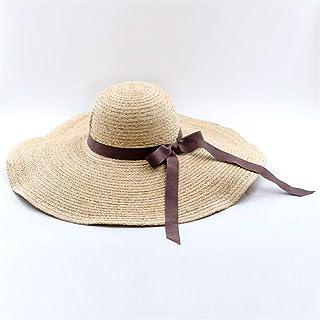 特大の帽子ラフィ麦わら帽子女性旅行ビーチカジュアルビッグハット野生弓麦わら帽子