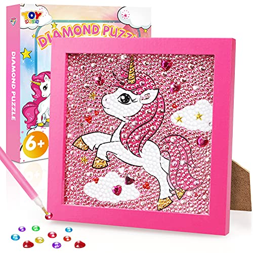 TOY Life 5D Diamond Painting for Kids with Wooden Frame - Diamond Arts and Crafts for Kids Ages 6 - 8 - 10 - 12 - Gem Painting Kit - Unicorn Diamond Painting Kits for Kids, Boys, Girls (Unicorn)