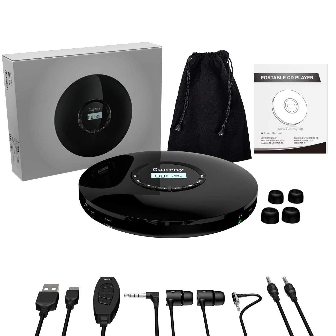 Portable CD Player 1400mAh CD Walkman Gueray Rechargeable CD Player Portable CD Discman Personal CD Player with Headphones Jack USB Supply CD Music Disc with LCD Display (Black)