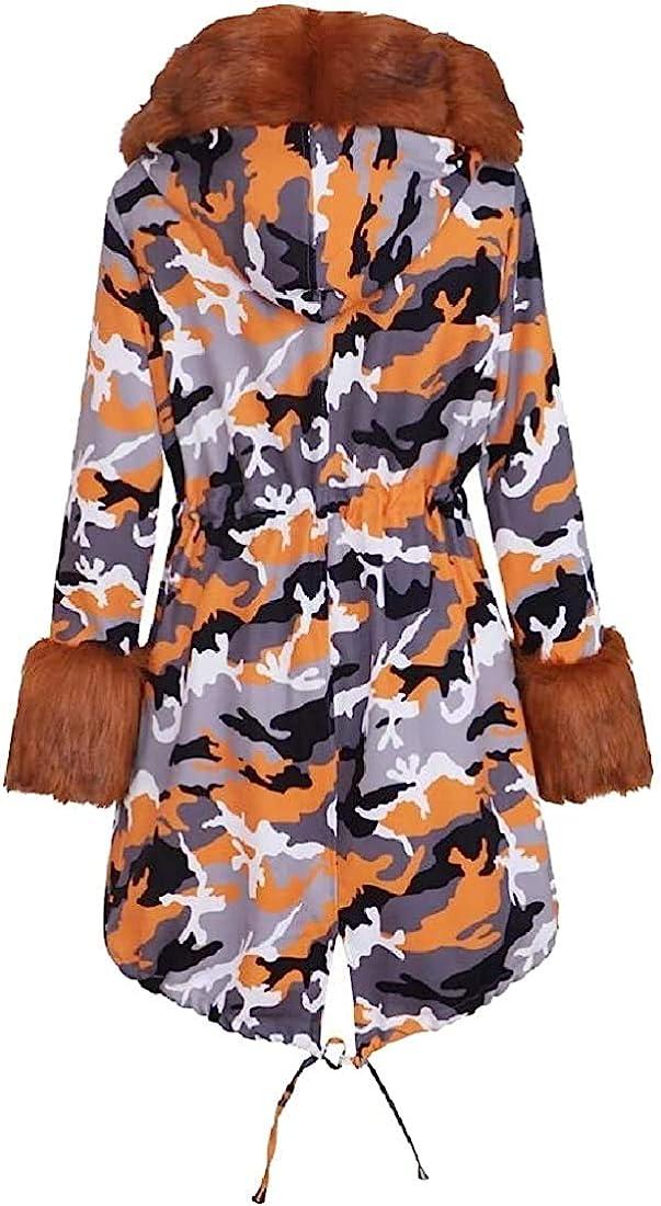 Mekoe Womens Fashion Hooded Camouflage Warm Winter Coats Faux Fur Jacket Parka Overcoat