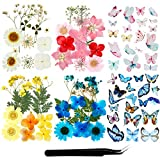Real Dried Pressed Flowers and Butterfly Transparent Stickers Butterfly Scrapbook Decals Natural Dried Flowers with Tweezers for Art Resin Supplies DIY Candle Making (Chic Colors)