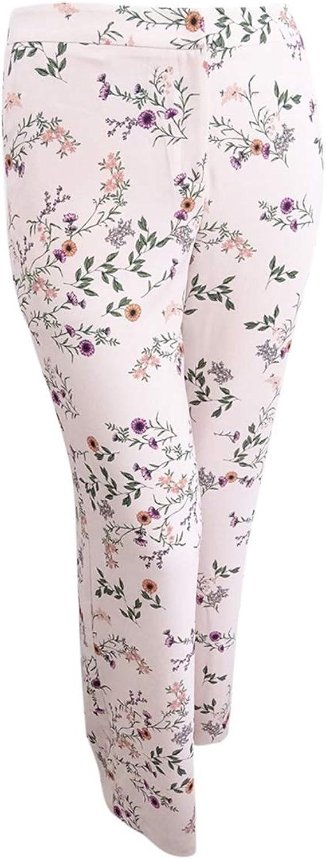 Alfani Womens Plus Crepe Floral Print Wide Leg Pants