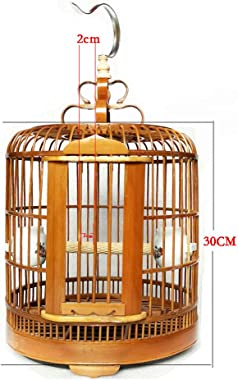 manual Vintage Wood Bamboo Pagoda Style Bird CAGE MATCHSTICK30 cm in Diameter (30CM/11.8inch)