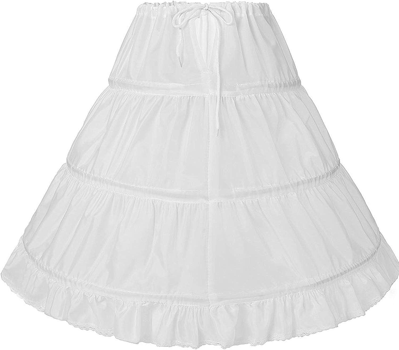 JoJoHouse Flower Girl Petticoats Childrens 3 Hoop Underskirt Crinoline Skirts for Girls Full Slip KPT1