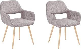 MEUBLE COSY Lot de 2 chaises de salle à manger fauteuils de style scandinave gris 56 x 56 x 78 cm
