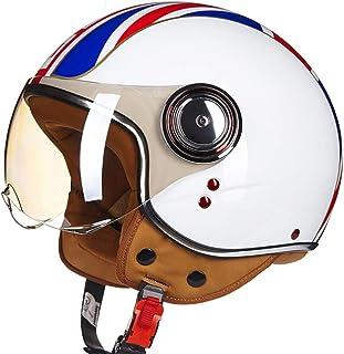 54~56cm Casque Moto Ouvert/Demi Casque D/ét/é/Casque De Moto Vintage Harley/ECE Approuv/é/Casque Jet Pilot/Casque Vespa Motocross Cruiser/pour Enfants Hommes Femmes Cool,M