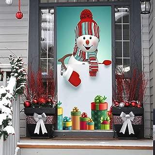 3D Christmas Door Decal Sticker-Christmas Snownman Door Stickers Decor Door Wall Mural Wallpaper Removable Door Cover Decoration Vinyl Wall Stickers for Door Home Decoration