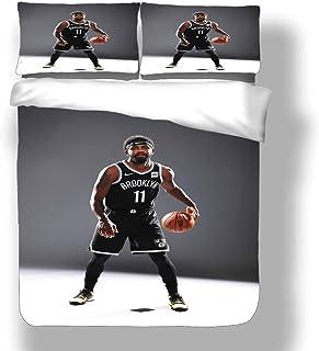 Zozun Juego de Funda nórdica Kyrie Brooklyn Basketball Player 11 Ropa de Cama Tío Drew Irving Nets Super Star Shot Clock Colcha Final con 2 Fundas de Almohada Boston Cleveland Celtics Cavaliers