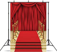 Dudaacvt Backdrop 5x7ft Red Curtain Background Hollywood Red Carpet Stage Backdrop Wedding Party Events Photography Props Seamless Photo Studio Props D146