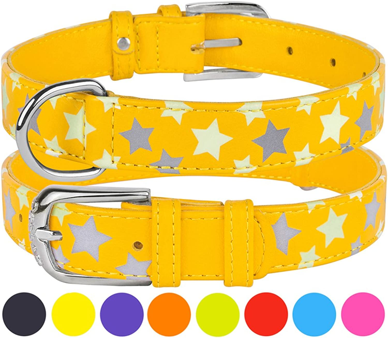CollarDirect Reflective Dog Collar 8 colors, Leather Safety Collars Dogs Glow in The Dark Puppy Small Medium Large, Comfortable Durable (Neck Fit 9 10 , Yellow)