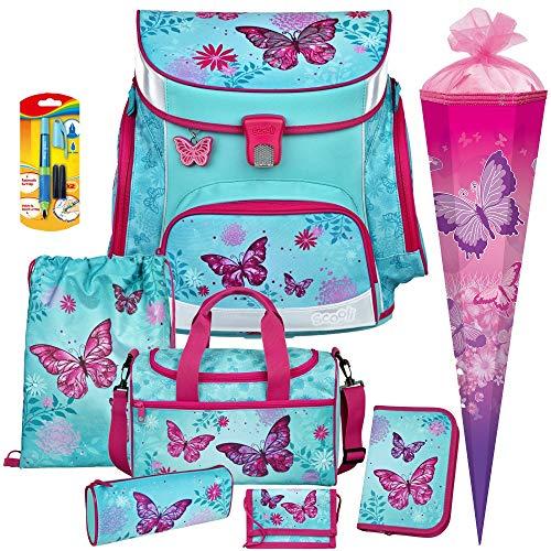 Butterfly - Schmetterling - SCOOLI Undercover Campus FIT PRO Schulranzen-Set 9tlg. mit Sporttasche und SCHULTÜTE - FÜLLER GRATIS DAZU!