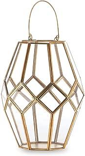 Madeleine Home La Rochelle Brass and Glass Hurricane Lantern