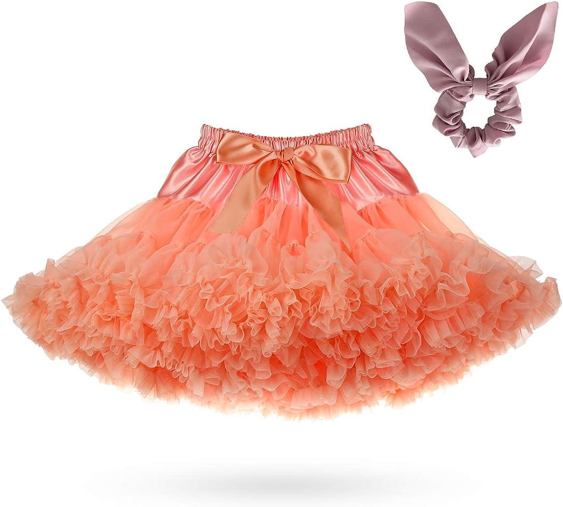 Gelma Baby Girls Tutu Skirt Princess Fluffy Soft Tulle Ballet Birthday Party Dance Pettiskirt Tiered, Coralred