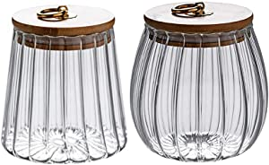 Glass Jars Canister Airtight Storage Container with Bamboo Lid Metal Handle Small Glass Food Jars and Canisters Sets for Coffee Tea Spice 2 Pcs