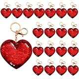 Aneco 24 Pieces Heart Sequin Keychain Glitter Sequin Heart Key Rings Flip Sequin Key Chains Accessories Valentine's Day Gifts Party Favors for Girls, Red