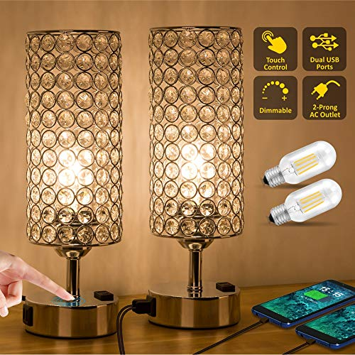ZEEFO Touch Control Crystal Table Lamp, Modern Elegant Decor Nightstand Lamps Built-in Dual 5V/2.1A USB Ports \u0026amp; 2-Prong AC Outlet Dimmable Bedside USB Lamps Perfect for Bedroom,Office (Set of 2)