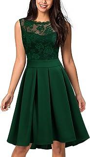9977d88cad8da9 Miusol Damen Elegant Spitzen 3/4 Arm Cocktailkleid Vintage Kleid  Brautjungfer 50er Jahr Abendkleid