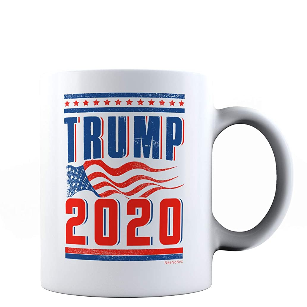NeeNoNex Trump 2020 with American Flag Ceramic Mug