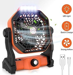 Ventilador USB Portátil,Ventiladores Recargable con LED Ventilador Exterior para Escritorio, Oficina, Camping, Viajes, Pesca