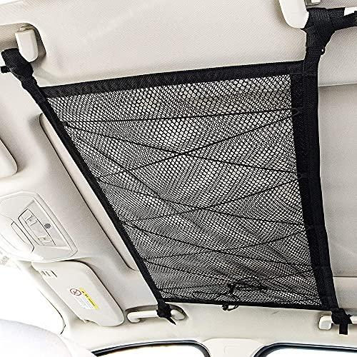 Red Almacenamiento Coche Techo, 31.5x21.6 Inch Organizador Bolsa de Carga con Cremallera, Universal Soporte Bolsa de Viaje Largo para Cuatro Apoyabrazos de Techo para SUV, Van