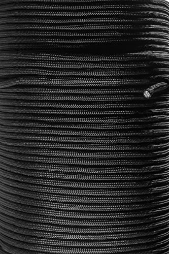 OxGord Paracord 550 Mil Spec Type III 7 Strand Parachute Commercial Grade Nylon Cord Spool for Camping Outdoor Hiking Wristband Bracelet Strong Strength Rope Tie Down  Black