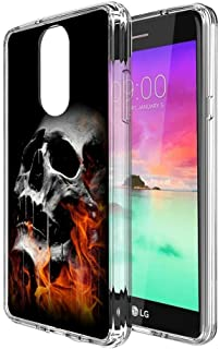 Burning Skull LG Stylo 4 Clear Case,Ultra-Thin Transparent Soft Protection Cover,Personal Customization Hybrid Drop Flexible Shockproof Case