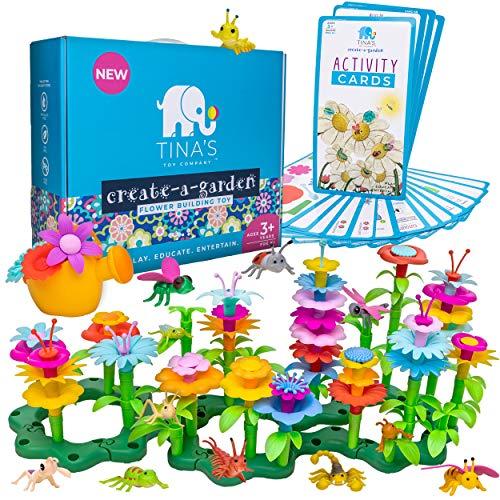 Flower Garden Building Toys Set, Educational Stem Toys for 3, 4, 5, 6 Year Old Girl, Arts and Crafts for Girls, Toddler Building Birthday Gift, Easter, Montessori Kindergarten Learning Kit for Kids