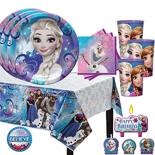 Frozen Birthday Party Pack for 16 with Plates, Napkins, Cups, Tablecover, and Candles