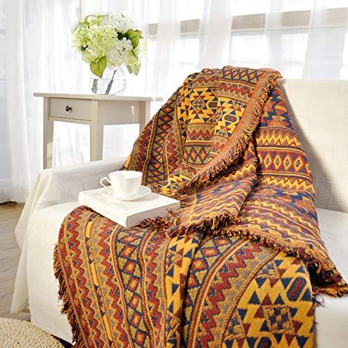 luofanfei Tagesdecke Gelb Wohndecke Baumwolle Bett Überwurf Sofaüberwurf Couchdecke Boho Stil mit Zweiseitig Unterschiedliches Geometrisches Muster für Sofa & Sessel 130X230 cm Gelb Rot Blau
