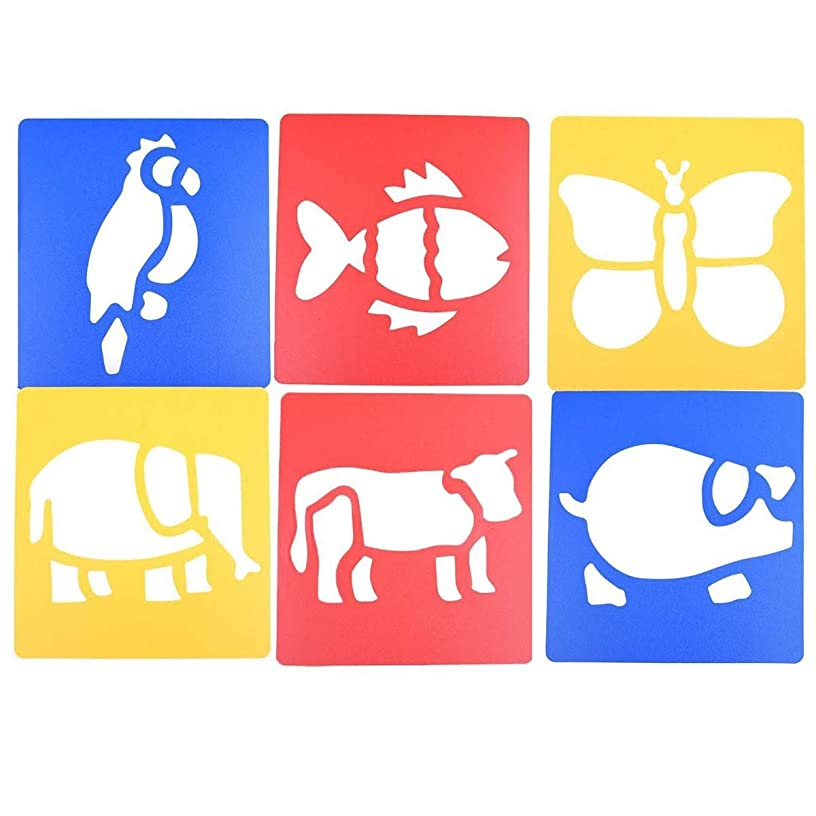 LGEGE 6pcs Assorted Colors Plastic Animals Painting Stencil for Kids Crafts